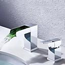 billige Væg Lamper-badeværelse vask vandhane - vandfald krom udbredt enkelt håndtag to huller ledet