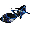 cheap Latin Shoes-Women's Latin Shoes Sparkling Glitter Sandal Customized Heel Dance Shoes Gold / Blue / Indoor