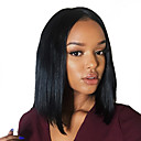 cheap Human Hair Wigs-Remy Human Hair Glueless Full Lace Full Lace Wig Bob style Brazilian Hair Straight Yaki Wig 130% 150% 180% Density with Baby Hair Natural Hairline African American Wig 100% Hand Tied Women's Short