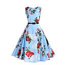 halpa Pääkoristeet juhliin-Naisten Bile Vintage Katutyyli Tuppi Swing Mekko - Kukka, Laskostettu Korkea vyötärö Polvipituinen Sininen