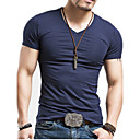 cheap Earrings-Men's Basic Cotton Slim T-shirt - Solid Colored V Neck / Short Sleeve
