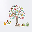 cheap Floral/Botanical Paintings-Wall Stickers Wall Decas Style Cartoon Tree Animal PVC Wall Stickers