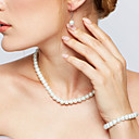 cheap Earrings-Women's Pearl Jewelry Set - Pearl Elegant, Bridal Include Strands Necklace Necklace / Earrings White For Wedding Party