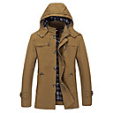 cheap Magnet Toys-Men's Long Plus Size Cotton Jacket - Solid Colored Hooded / Long Sleeve