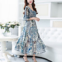 cheap Jewelry Sets-Women's Going out Street chic Flare Sleeve Chiffon / Swing Dress - Floral Print Maxi V Neck