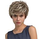 billige Lågløs-Human Hair Capless Parykker Menneskehår Lige Pixie frisure / Frisure i lag / Med bangs / pandehår Side del Kort Maskinproduceret Paryk Dame