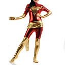 billige Zentai-Zentai Dragt Superhelte Spandex Heldragt Cosplay Kostumer Rød Patchwork Zentai Lycra Dame Børne Halloween