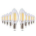 cheap LED Smart Bulbs-YWXLIGHT® 10pcs 4W 300-400lm E14 LED Candle Lights C35 4 LED Beads COB Dimmable Decorative Warm White 220-240V