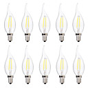 cheap LED Candle Lights-BRELONG® 10pcs 2W 200lm E14 LED Filament Bulbs C35 2 LED Beads COB Dimmable Warm White White 220-240V