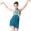 cheap Kids' Dancewear-Ballet Outfits Women's Performance Sequined Lycra Sequin Side-Draped Sleeveless Natural Top Neckwear