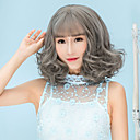 cheap Synthetic Capless Wigs-Synthetic Wig Curly Bob Haircut / With Bangs Synthetic Hair Brown / Gray Wig Women's Short Capless