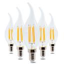 baratos Lâmpadas LED em Forma de Vela-YWXLIGHT® 5pçs 4 W 300-400 lm E14 Lâmpada Redonda LED CA35 4 Contas LED COB Regulável / Decorativa Branco Quente 220-240 V / 5 pçs