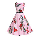 cheap Synthetic Capless Wigs-Women's Work Holiday Vintage Cotton Sheath Swing Dress - Floral High Rise
