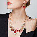 cheap Human Hair Capless Wigs-Women's Synthetic Ruby Jewelry Set Imitation Diamond Drop Ladies, Luxury, European, Fashion, Elegant Include Drop Earrings Statement Necklace Earrings Bib necklace Blue / Rainbow / Champagne For