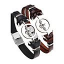 cheap Men's Necklaces-Men's Leather Bracelet - Stainless Steel, Leather Anchor Black, Brown