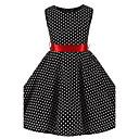 رخيصةأون فساتين البنات-لفتاة فستان منقط قطن كل الفصول بدون كم شريطة أسود