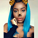 cheap Synthetic Capless Wigs-Synthetic Wig Straight Bob Haircut Synthetic Hair Blue Wig Medium Length Capless