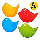 cheap Egg Tools-4 Pcs Eggcellent Poacher Colorful Non-stick Silicone Egg Cookware Pod Cup