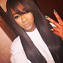 cheap Bag Sets-100% Virgin Human Hair Glueless Lace Front Wig Straight Wig With Bangs 130% Density with Baby Hair Natural Hairline African American Wig 100% Virgin 100% Hand Tied Women's 10 inch 12 inch 14 inch