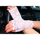 cheap Rhinestone & Decorations-Women's Lace Wrist Length Fingerless Gloves - Solid Colored