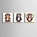 olcso Állatos festmények-Hang festett olajfestmény Kézzel festett - Állatok Absztrakt / Retro Vászon / Nyújtott vászon