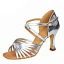 olcso Menyasszonyi cipők-Női Latin cipők Selyem / Műbőr Szandál Csat Kubai sarok Személyre szabható Dance Shoes Fekete / Ezüst / Barna / Teljesítmény / Bőr