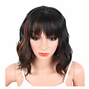 cheap Synthetic Capless Wigs-Synthetic Wig Wavy / Natural Wave Synthetic Hair With Bangs Black Wig Short Capless