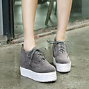 저렴한 여성 스니커즈-여성용 구두 PU 가을 / 겨울 컴포트 플랫 크리퍼 둥근 발가락 용 블랙 / 그레이 / 스크린 컬러