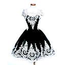 hesapli Lolita Perukları-Gotik Lolita Zarif / Eski Tiplerden Esinlenilmiş Saten Elbiseler Cosplay Siyah Kolsuz Diz Boyu Cadılar Bayramı Kostümleri