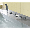 cheap Bathtub Faucets-Bathtub Faucet - Contemporary Chrome Widespread Brass Valve