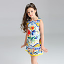 cheap Girls' Clothing Sets-Girl's Floral Dress, Polyester Summer Sleeveless Floral Yellow