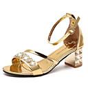 preiswerte Damen Sandalen-Damen Schuhe PU Sommer Komfort Sandalen Walking Blockabsatz Runde Zehe Strass Gold / Schwarz