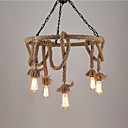 cheap Chandeliers-Vintage Industrial Hemp Rope Pendant Lamp With 6-Lights Chandelier Living Room Dining Room Light Fixture