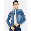 baratos Faixas de Luzes LED-Mulheres Jaqueta jeans Clássico-Côr Sólida Estilo Formal