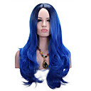 cheap Coffee and Tea-Synthetic Wig Wavy Synthetic Hair Heat Resistant Blue Wig Medium Length Capless
