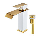 cheap Faucet Sets-Faucet Set - Waterfall Painting Centerset Single Handle One Hole