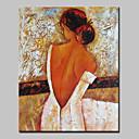 baratos Luzes de Bicicleta & Refletores-Pintura a Óleo Pintados à mão - Pessoas Abstracto / Modern Tela de pintura
