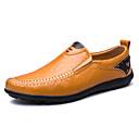 זול נעלי בד ומוקסינים לגברים-בגדי ריקוד גברים נוחות לופרס עור / דמוי עור אביב / קיץ נוחות נעליים ללא שרוכים קולור בלוק שחור / צהוב / חום