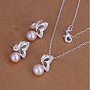 cheap Jewelry Sets-Women's Jewelry Set - Imitation Pearl Animal Cute Include Stud Earrings / Necklace Pink For Party / Daily / Casual