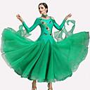 preiswerte Tanzkleidung für Balltänze-Für den Ballsaal Kleider Damen Leistung Polyester / Elasthan Kristalle / Strass Langarm Kleid / Neckwear