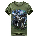 cheap Tape in Hair Extensions-Men's Active Plus Size Cotton Slim T-shirt - Animal Wolf, Print Round Neck / Short Sleeve