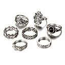olcso Férfi gyűrűk-Női Mértani Gyűrűk készlet - Ezüstözött Virág Vintage, Bohém, Punk Egy méret Ezüst Kompatibilitás Esküvő Parti Születésnap / 7db