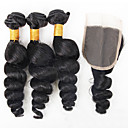 cheap Synthetic Capless Wigs-3 Bundles with Closure Brazilian Hair Loose Wave Virgin Human Hair Natural Color Hair Weaves 12-26 inch Human Hair Weaves Human Hair Extensions