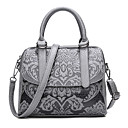cheap Shoulder Bags-Women's Bags PU Tote Pattern / Print Dark Gray / Dark Green / Light Grey