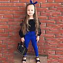 olcso Lány divat-Pamut Egyszínű Tavasz Ősz Hosszú ujj Lány Ruházat szett Fekete