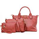 cheap Bag Sets-Women's Bags PU Bag Set Zipper Gray / Purple / Fuchsia