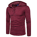 cheap Men's Boots-Men's Active / Street chic Long Sleeve Pullover - Solid Colored Hooded