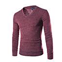 povoljno Sjenila-Muškarci Dnevno / Sport Jednobojni Dugih rukava Regularna Pullover, V izrez Jesen / Zima Crvena / Bijela / Lila-roza L / XL / XXL