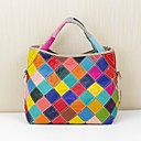 cheap Totes-Women's Bags Cowhide Tote Pocket Geometric Rainbow