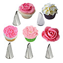 cheap Bakeware-5Pcs Rose Petal Stainless Steel Cream Tips Cake Icing Piping Nozzles Cupcake Pastry Decorating Tools